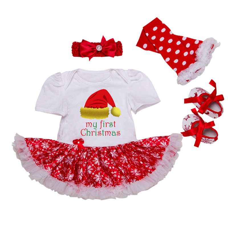 Christmas Newborn Clothing Set Girls Infant Skirt Bodysuits Headband Warmer Shoes Tutu Romper Set 4 Pieces Baby Girl Outfits Set new baby girl clothing sets lace tutu romper dress jumpersuit headband 2pcs set bebes infant 1st birthday superman costumes 0 2t