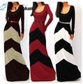 Moda sexy geometría bloque color de la raya de manga larga longitud de la correa de una sola pieza vestido hembra 805