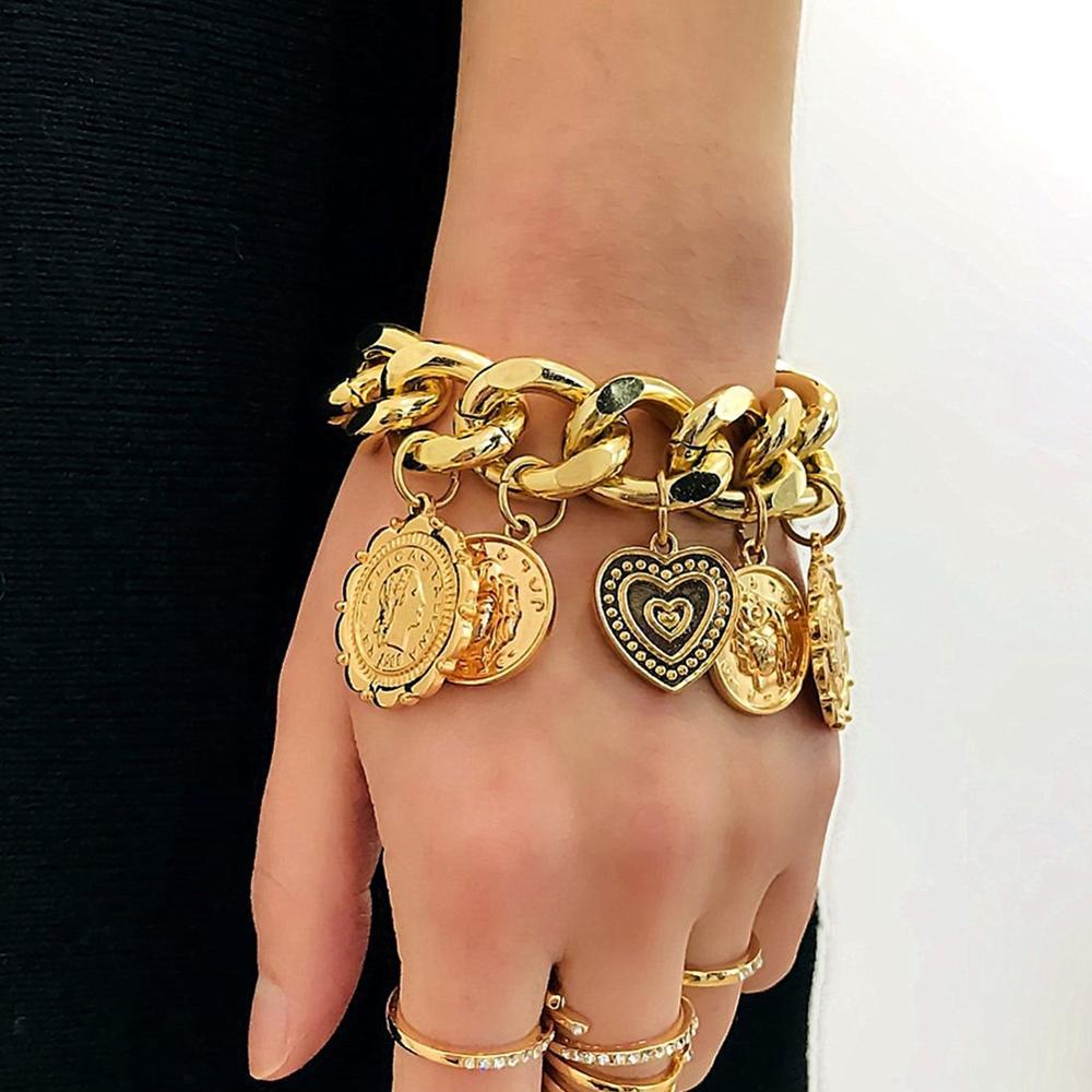 imixlot Exaggerated Punk Chain Bracelets Bangles Vintage Geometric Multi-layers Gold Coin Bracelet Statement Jewelry pulseras