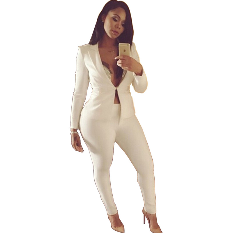11d2d952d Plus redwine Mujeres Oficina Las Tamaño Para white Negro Blanco Sexy  Unidades Larga Royalblue Chaquetas Pantalón Nuevas Slim black Pantalones  Dos Traje ...