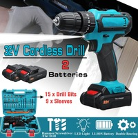 32V Max Cordless Screwdriver Impact Drill Power Driver 2 Batteries Electric Screwdriver 2 Speed 3 IN1 perforator Hammer Drill