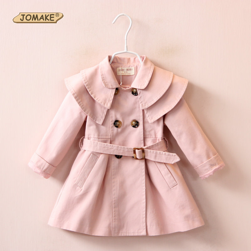 купить Autumn Jackets Girls Coat 2018 Brand Children Jackets Kids Clothes Double Breasted Belt Windbreaker Fashion Girls Trench Coats по цене 1009.76 рублей