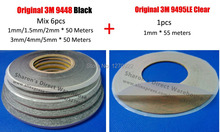 Save Money! 1mm/1.5mm/2mm/3mm/4mm/5mm width Double Sided Adhesive 3M Black 9448 Tape + 300LSE 9495LE 1MM Tape for TouchScreen