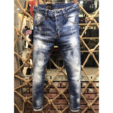 HOT ECTIC Men fashion Worn patch jeans NEW sportman classic casual pants Street tide trousers COOL