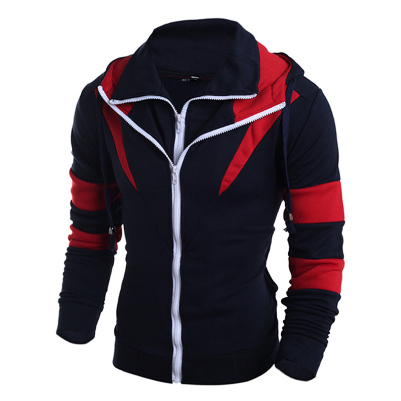 Mens New Stitching Color Double Zipper Slim Mens Long Sleeve Hooded Casual Jackets Cardigan Fashion Hoodie Hoodies For Men