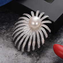 gNpearl  Fireworks Freshwater Pearls Brooch 11-12mm High grade natural Elegance pearl Sweater jewelry Women Gift Suit