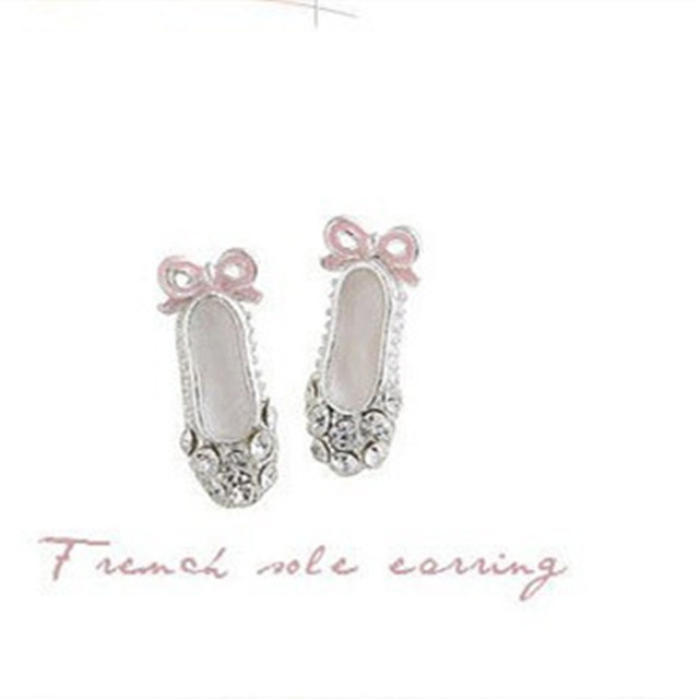 Lovely Delicate Crystal Rhinestones Ballet Shoes Bow Earrings For Ballet Dancer Gifts