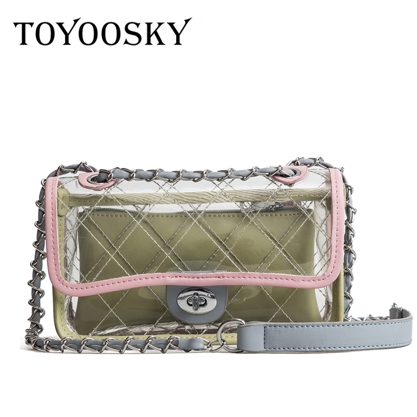 TOYOOSKY Women Summer Crossbody Bag PVC Transparent Composite Bags Set with Purse Waterproof Quilted Plaid Beach Handbags Female toyoosky women summer crossbody bag pvc transparent composite bags set with purse waterproof quilted plaid beach handbags female