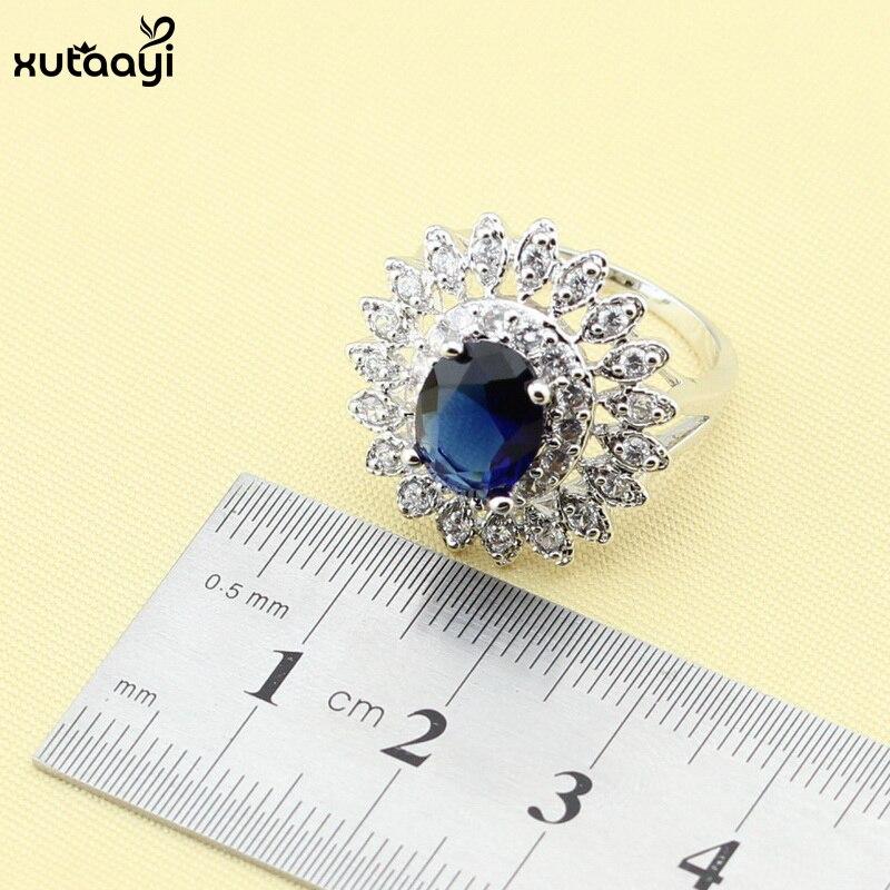 XUTAAYI Mavi Cubic Zirconia AAA Keyfiyyətli 925 Gümüş zərgərlik - Moda zərgərlik - Fotoqrafiya 5