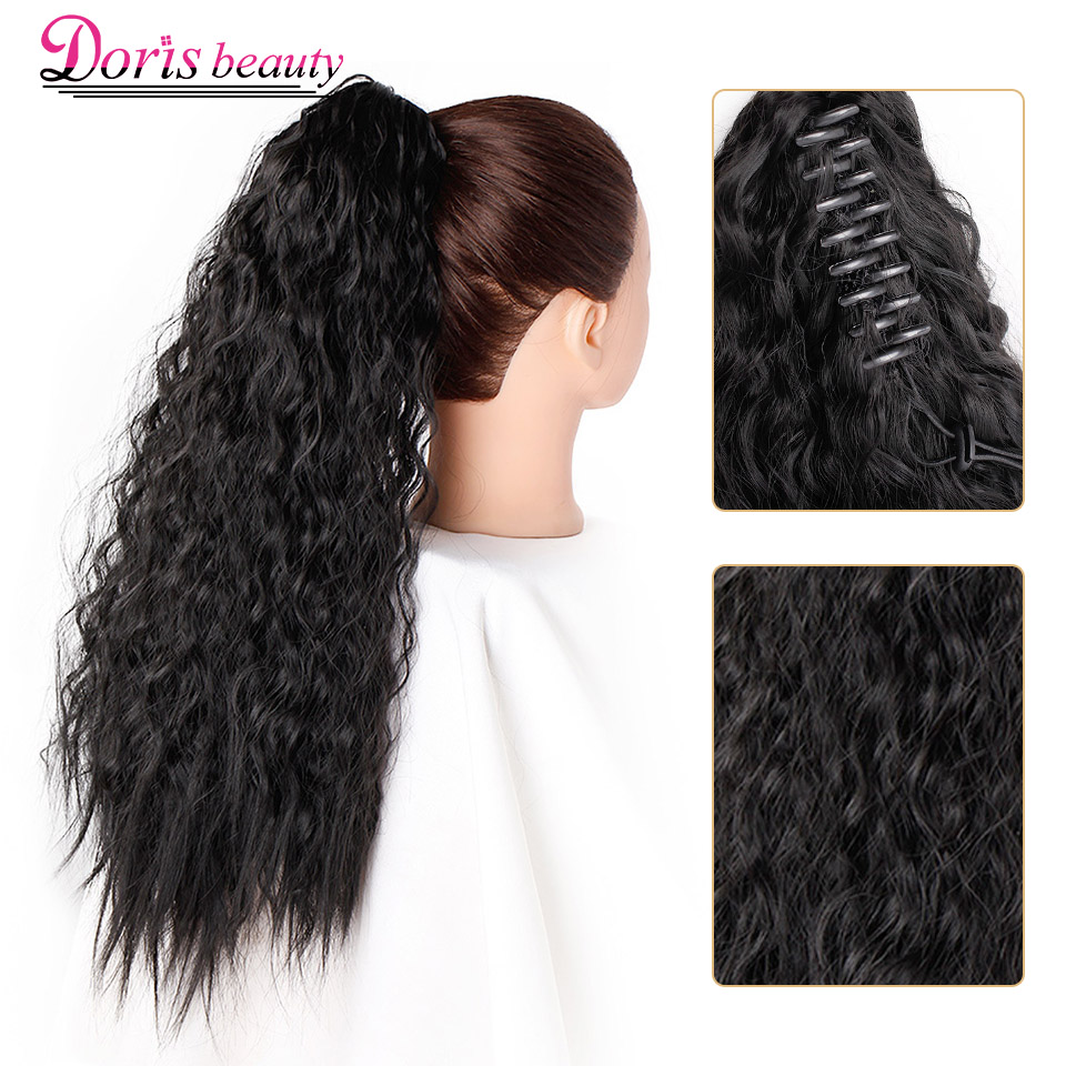 Zonnig 22 ''55 Cm Zwart Synthetisch Lange Paardenstaart Uitbreiding Kinky Rechte Klauw Paardenstaart Clip Op Hair Extensions Voor Vrouwen Bruin 50% Korting