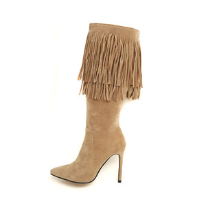 Image 2 - MORAZORA 2020 new arrival mid calf boots women pointed toe autumn winter boots sexy stiletto heels shoes fashion fringe boots