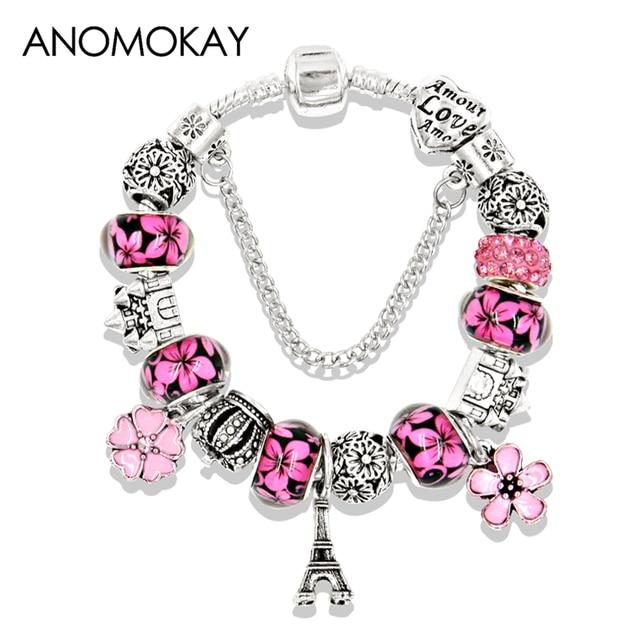 5 Colors Silver Color Paris Eiffel Tower Charm Pan Bracelet Crystal Bead Bracelets Bangles With