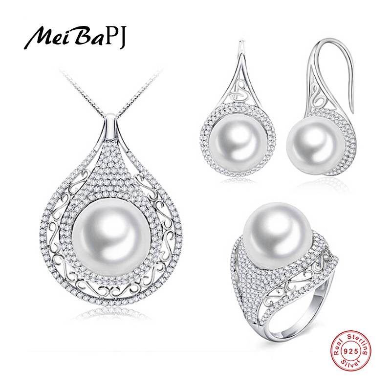 MeiBaPJ Promise High Quality 4A Natural Freshwater Pearl Jewelry Sets For Women Genuine 925 Sterling Silver Wedding TZ-146Y