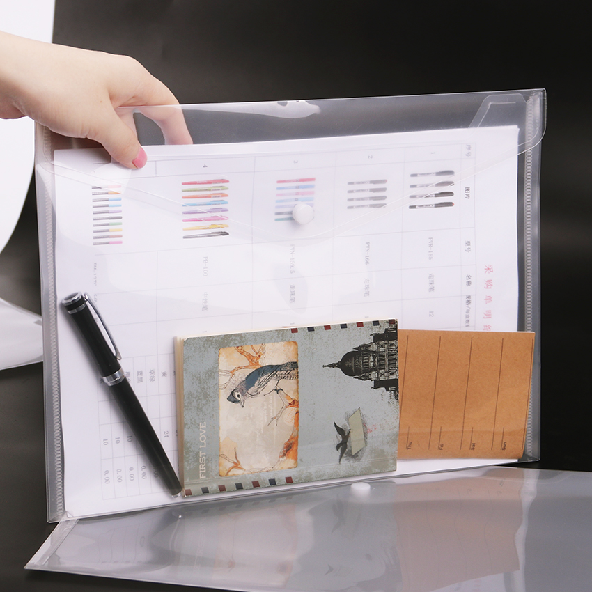 1PC Transparent A4 File Folder Durable Briefcase Document Bag Paper File Folders Stationery School Office Supplies