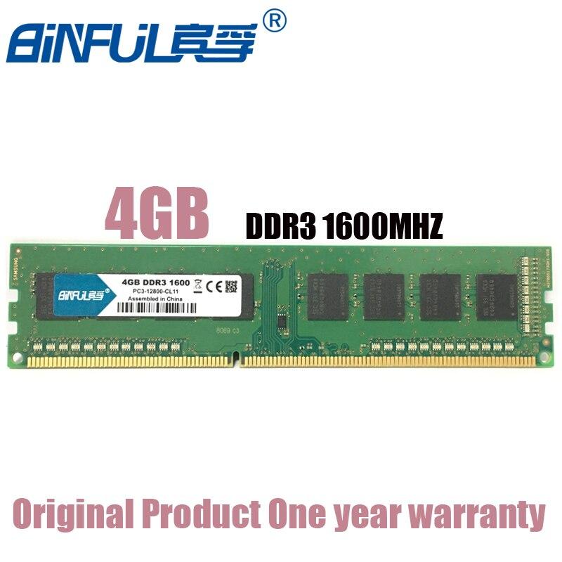 BiNFUL 4G 4GB DDR3 PC3 12800U DDR3 1600MHZ ECC Desktop RAM Desktop memory 4G PC3-12800U DDR3 1600 MHZ Fully compatible RAM samsung server memory ddr3 8gb 16gb 1600mhz ecc reg ddr3 pc3 12800r register dimm ram 240pin 12800 8g 2rx4 x58 x79