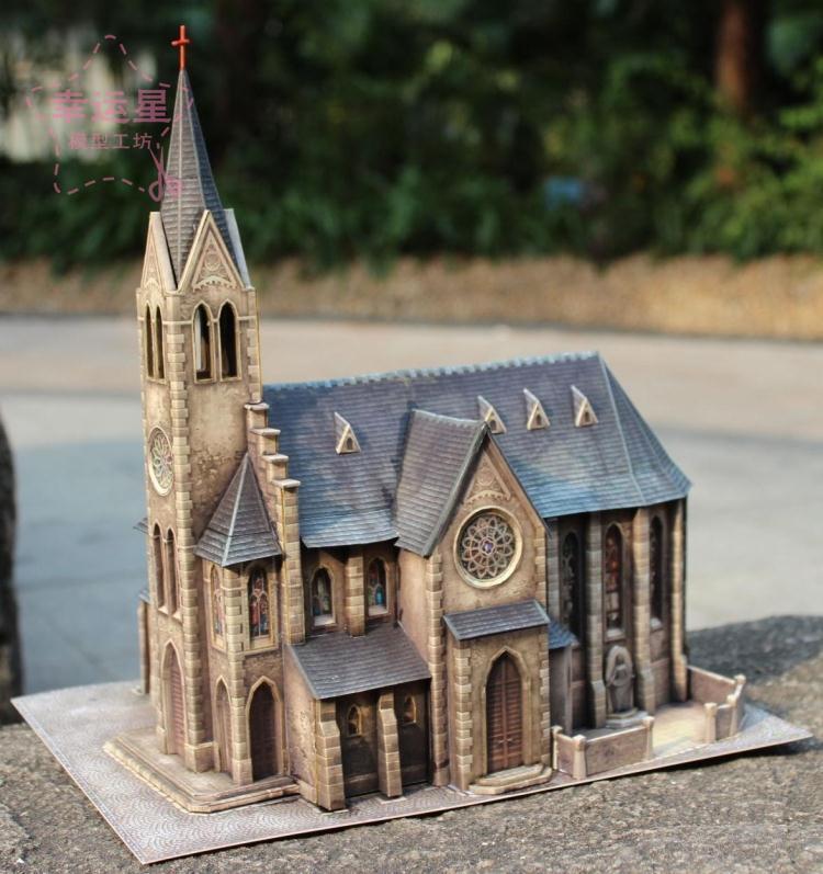 Bâtiment médiéval 1/87 annexe 1404 église 3d papier modèle bricolage