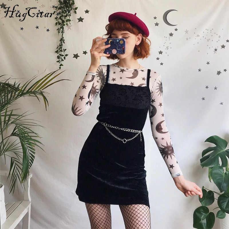 Hugcitar mesh przezroczysty O-neck drukuj sexy krótkie bluzki 2019 wiosna kobiety new arrival moda słońce nadruk z księżycem club koszulki na imprezę