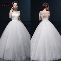 Custom Made Long Formal Wedding Dresses 2018 Ball Gown Short Sleeve Lace Tulle Elegant Bride Wedding