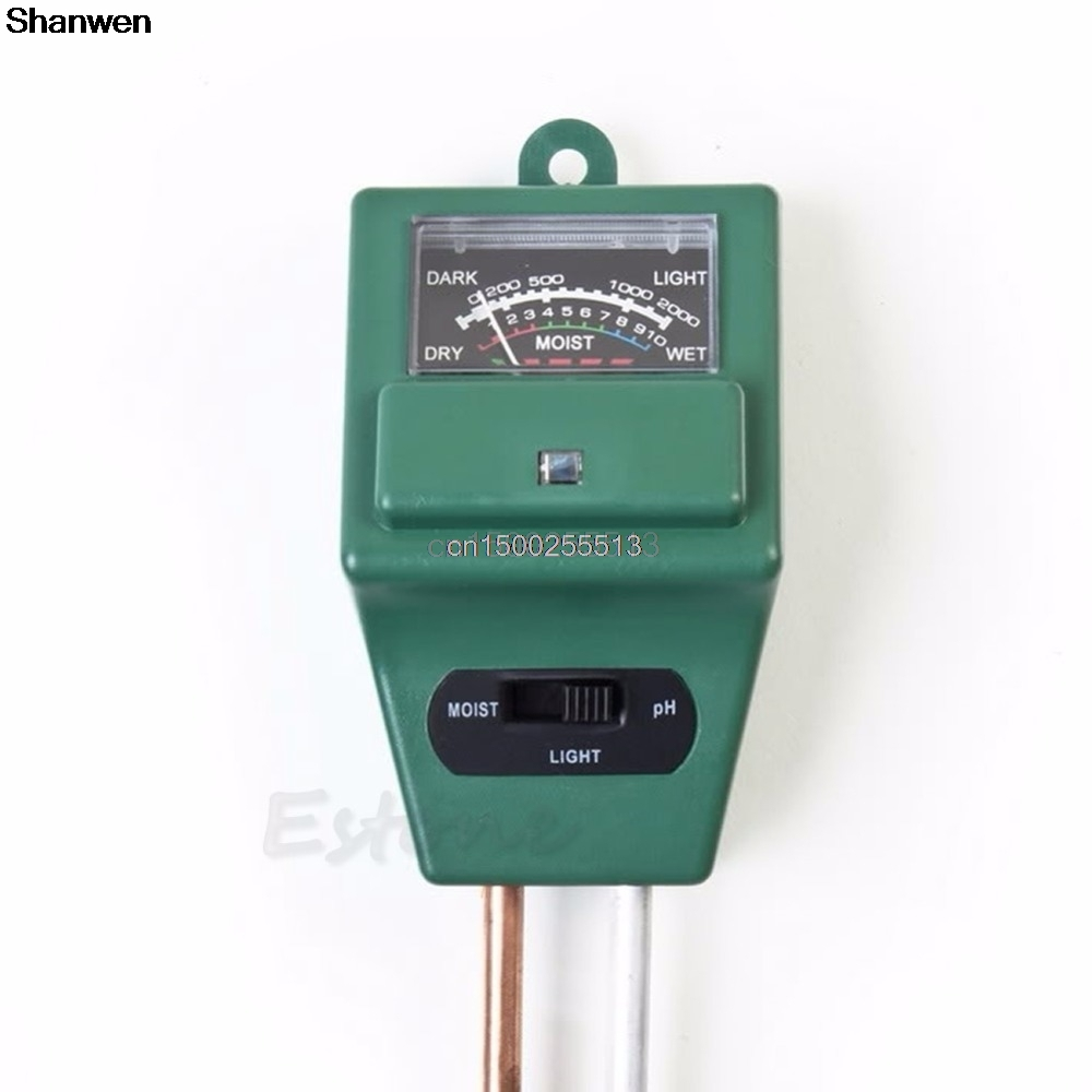Gerade Boden Hygrometer 3 In 1 Ph Tester Boden Wasser Feuchtigkeit Licht Test Meter Für Garten Pflanze Blume Werkzeuge Feuchtigkeit Meter