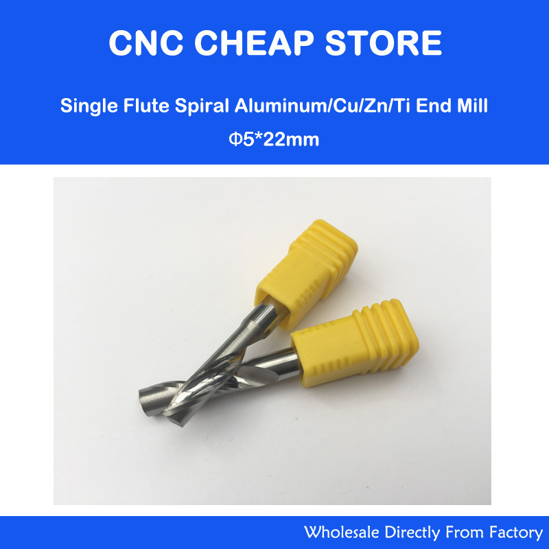 2pcs 5mm High Quality Carbide CNC Router Bits One Single Flute End Mill Tools 22mm Aluminum Cutting 5*22mm Alu Cutter 3 175 12 0 5 40l one flute spiral taper cutter cnc engraving tools one flute spiral bit taper bits