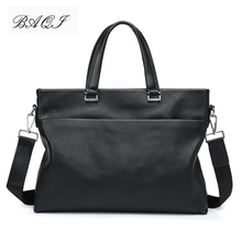 купить BAQI Brand Men Handbags Men Briefcase Bag Genuine Cow Leather 2019 Fashion Computer Business Bag Men Shoulder bags Messenger Bag по цене 3282.61 рублей