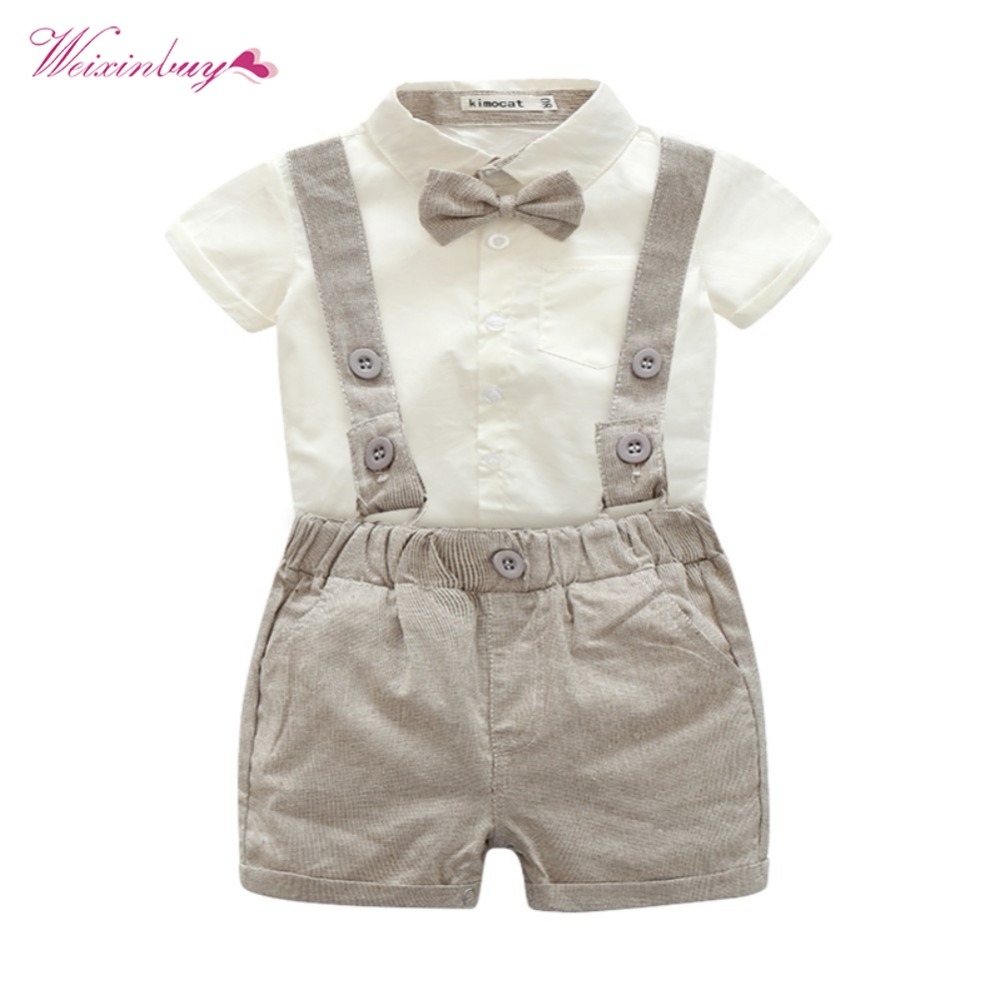 WEIXINBUY Newborn Kids Baby Boys Set Summer Short Sleeve T-shirt Tops + Bib Pants Outfits Gentleman Style 3 Pcs Set sun moon kids boys t shirt summer