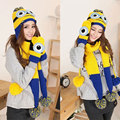 Fashion Minions Despicable Me Hat Scarf and Gloves Set Autumn and Winter Warm Yellow Knitted Scarf Set