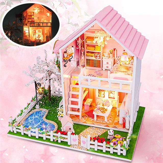 Christmas Dollhouse Miniatures.Us 35 69 40 Off New Arrival Cuteroom Diy Wooden Dollhouse Miniatures Cherry Tree Under Warm Christmas Birthday Gift For Children Friends In Doll