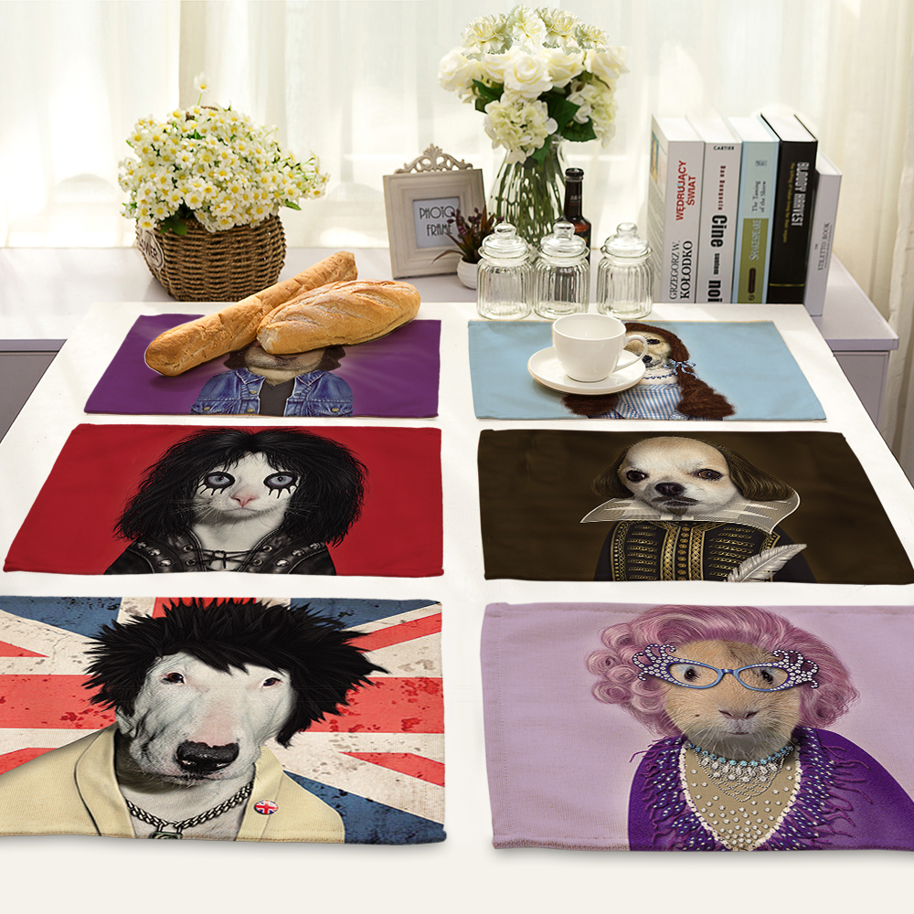 42*32cm dog Napkins danish cotton and linen table home decor Table Napkins Wedding-cloth-napkins MA0016