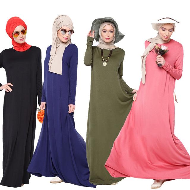 2016 mujeres musulmanes visten la chilaba abaya ocasional más tamaño vestido largo de algodón turco caftán dubai
