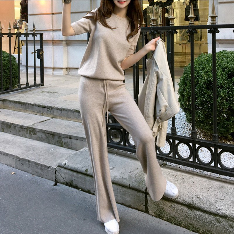 Soft Waxy Comfortable Cashmere Pants Female Knitted Sets Wide Leg Pants Loose Sets Casual Pants Women Suits
