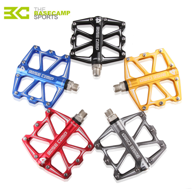 2017 Hot <font><b>BaseCamp</b></font> Mountain Bike Bicycle Pedal MTB Flat Pedals Aluminum Alloy 4 Ball Bearings Ultralight Bicycle Accessory Parts image