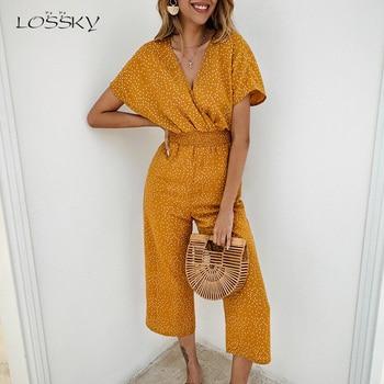 цена на Lossky Women Jumpsuits Rompers Summer Casual Print V-neck Pocket Overalls Jumpsuit Short Sleeve Wide Leg Loose Jumpsuit