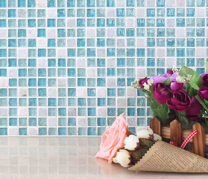 Light Blue Crystal Mosaic Mixed White Stone Tiles Bathroom Kitchen Bedroom Living Room Wall And Floor In Stickers From Home Garden On