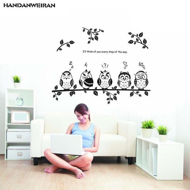 US $4.49 10% di SCONTO|Nero gufo adesivi può rimuovere adesivi murali  camera da letto soggiorno divano TV sfondo Arredamento Per La Casa adesivi  ...