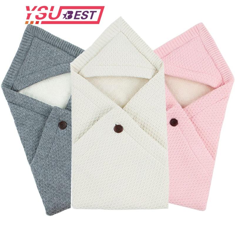 2019 Baby Sleeping Bags Winter Warm Infant Fleece Wrap Swaddle Blankets 0-6M Newborns Stroller Bedding Envelops Kids Sleep Sack