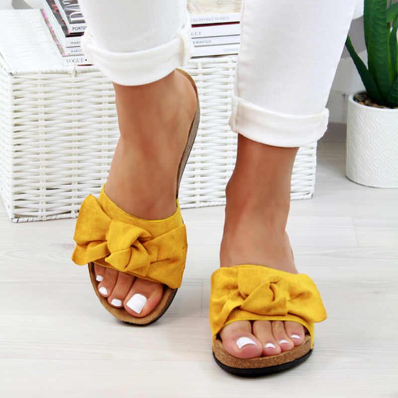 2020 Schoenen Vrouw Sandalen Voor Vrouwen Strand Schoenen Boog Slip Op Gladiator Sandalen Vrouwen Zomer Schoenen Platte Sandalen Vrouwelijke Plus size