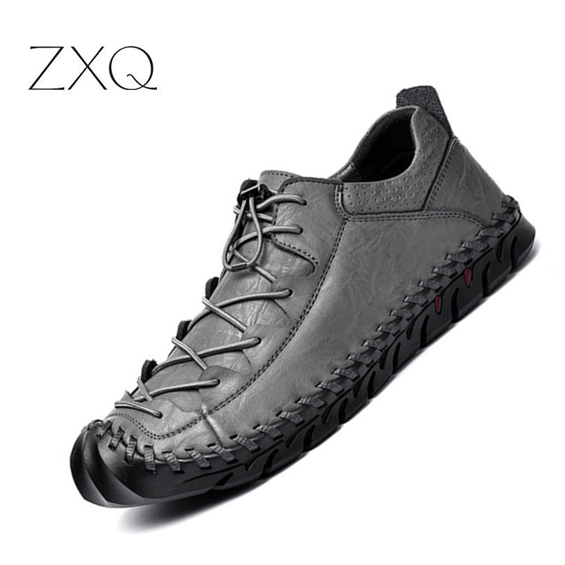Handmade Genuine   Leather   Men Casual Shoes New Autumn 2018 Vintage Shoes Flats Lace-up Hot Sale Moccasins Chaussure Homme