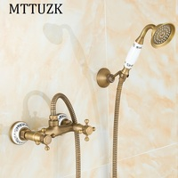 MTTUZK Antique Brass Shower Set Hot and Cold Mixer Double Handle Shower with porcelain Wall Mounted Shower Set Free Shipping
