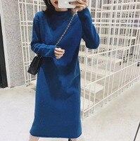 2018 Midi Knitting Turtleneck Dress Women Long Sleeve Winter Autumn Soft Casual Straight Dresses Knitted Knee Length