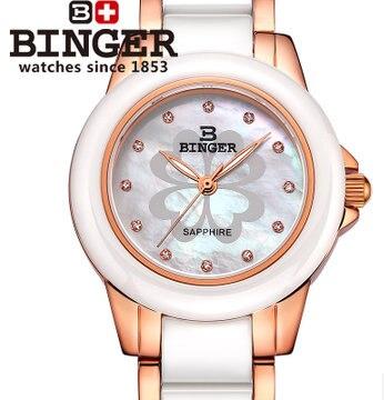 Binger 2017 nueva moda Ginebra oro rosa flor mujeres vestido reloj  rhinestone elegante Relojes de cuarzo Orologio da polso reloj 96541cb01da