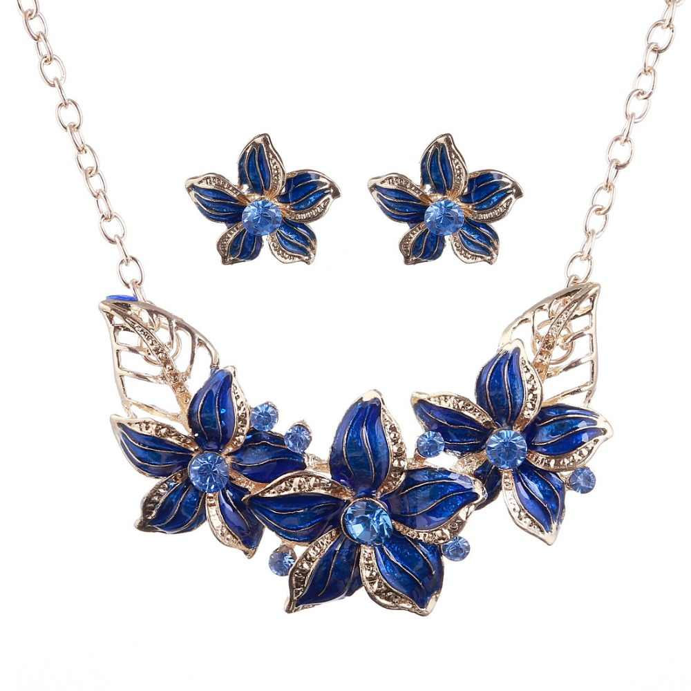 African Costume Jewelry Sets 2019 New Design Flower Maxi Necklace Earring Set Rhinestone Crystal Jewelry Accessories