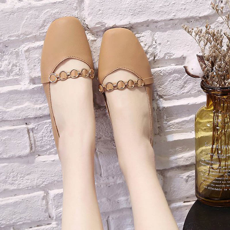 HEE GRAND 2019 New Spring Women Flats Solid Slip-On Causal Square Toe Shoes String Bead PU Leather Flats Size 35-40 XWD7578 6