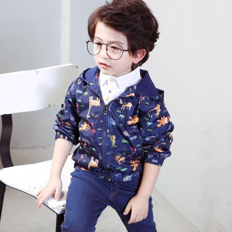 Весна и осень для мальчиков куртка с капюшоном пальто для мальчиков и девочек Дети мультфильм печати Верхняя одежда ветровка детская мода К...