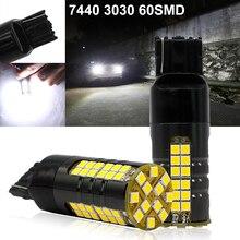 цена на 12V 7440 LED T20 7440 7443 LED Bulb 3030 60 SMD LED Canbus Error Free Car LED Reverse Turning Brake Light Bulb White Lamp 2pcs
