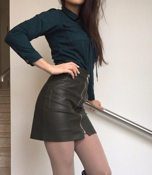 80s Style Zipper Mini Skirt