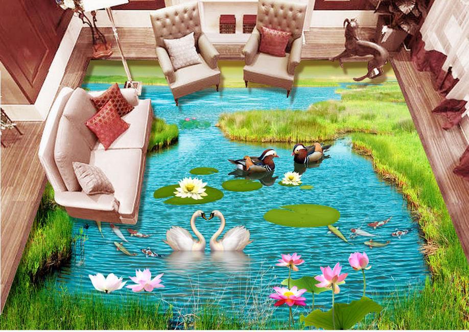 ФОТО vinyl flooring adhesives custom 3d mural pvc flooring Lotus Mandarin Ducks 3d flooring waterproof wall paper bedroom wallpaper