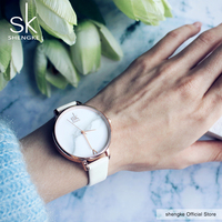 Shengke Top Brand Fashion Ladies Watches Elegant Female Quartz Watch Women Thin Leather Strap Watch Montre