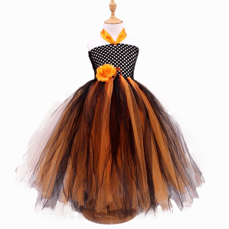 Cute Girls Dresses 2016 New Retail Halloween Princess Costume Sling Strapless Flower Tulle Kids Tutu Dresses