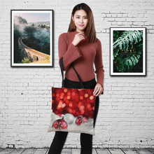 CROWDALE Merry Christmas Women bag gift Large Linen Double-side printing Shopping bags Shoulder 43cm*43cm